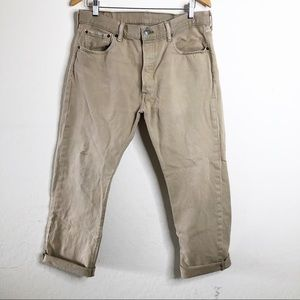 Men's LEVI'S 501 Button Fly Jeans Tan Khaki